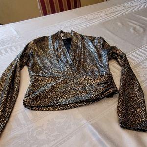 Anne Klein Gold/ Black Top Size 4 F02174